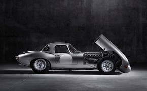 Picture grey, engine, Jaguar, the hood, steel, E-Type Lightweight