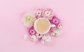 Picture flowers, pink, coffee, Cup, pink, coffe, cappuccino, runkulus, Julia Sudnitskaya