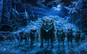 Picture snow, night, the city, fear, predators, the full moon, invasion, blue flame, burning eyes, the …