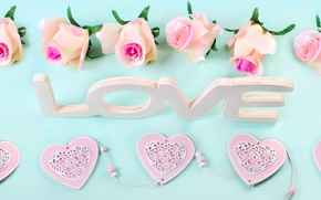 Picture roses, hearts, love, heart, wood, pink, flowers, romantic, petals, roses, pink roses, pastel