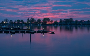 Picture clouds, boats, Germany, pier, Bayern, glow, Baden lake, Lindau