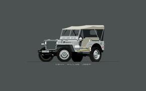 Picture Auto, Minimalism, Figure, Machine, Jeep, Art, SUV, 1944, Jeep, Willys, NAVY2, Nik Schulz, 95073, 1944 …