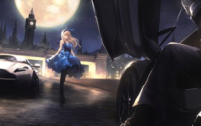 Picture girl, night, the city, the moon, anime