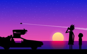 Wallpaper car, water, the sun, space, stars, flight, sunset, trail, shadow, hairstyle, space, shadows, time machine, ...