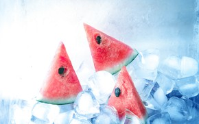 Picture ice, Watermelon, berry, seeds, slices