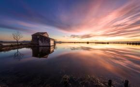 Wallpaper sunset, house, lake