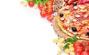 Picture food, pizza, pepper, tomato, calabresa