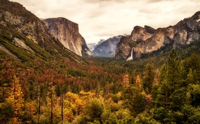 Picture autumn, forest, clouds, trees, mountains, rocks, waterfall, valley, CA, panorama, gorge, USA, Yosemite, Yosemite National ...