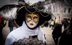 Picture feathers, mask, Venice, outfit, carnival
