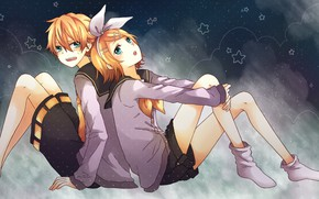 Picture girl, background, stars, guy, two, Vocaloid, Vocaloid, Kagamine Len, Kagamine Rin