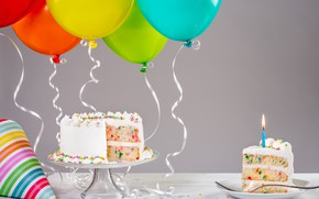 Wallpaper cake, birthday, cake, candles, ballones, colorful, celebration, decoration, Happy Birthday, balloons