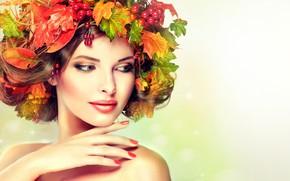 Picture look, girl, face, model, hair, portrait, makeup, brunette, wreath, Kalina, autumn leaves, Edward Derule