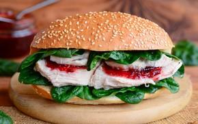 Wallpaper leaves, meat, sauce, hamburger, bun