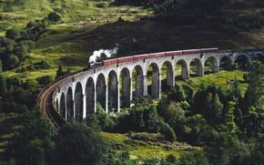 Picture Nature, Bridge, The engine, Railroad, Landscape
