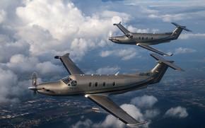Picture single-engine, Pilatus PC-12, turboprop aircraft
