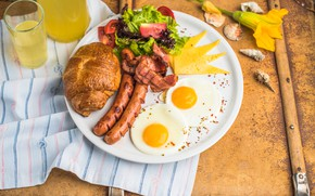 Picture flowers, croissant, vegetables, juice, sausage, shell, salad, scrambled eggs, cheese, bacon, Breakfast