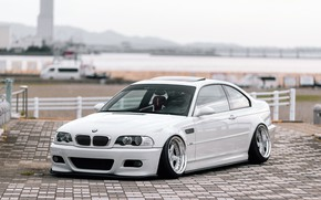 Picture Auto, White, BMW, Machine, BMW, The hood, Tile, Car, E46, BMW M3, The front, German, …