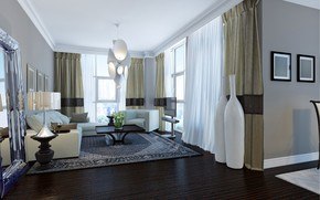 Picture room, window, chandelier, curtains, living room