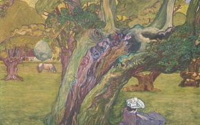Picture landscape, oil, picture, canvas, Jan Toorop, Old Oak in Surrey