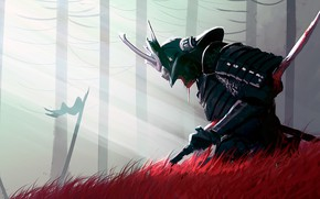 Picture fantasy, armor, death, blood, weapon, katana, sword, pearls, fantasy art, Samurai, digital art, blood spatter, ...