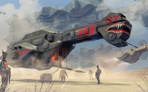 Picture Spaceship, artwork, science fiction, futuristic, digital art, fantasy art, desert, cyborgs, goods, sci-fi, transport, robots, ...