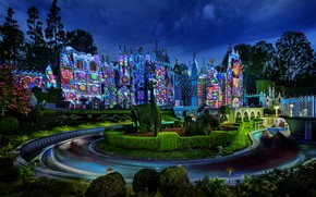 Picture Lights, Night, Trees, Building, Park, Disneyland, Night landscape
