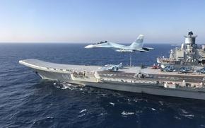 Wallpaper sea, fighter, cruiser, Heavy, Ka-29, aircraft carrier, Admiral Kuznetsov