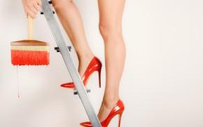 Picture paint, shoes, legs, brush, stamenka
