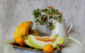 Picture flowers, still life, apricot, melon