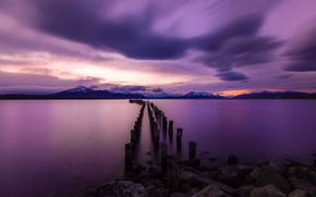 Picture sunset, Chile, Torres del Paine National Park, Old Pier, Peurto Natales