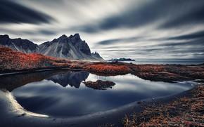 Picture sea, mountains, shore, Vestrahorn Islande