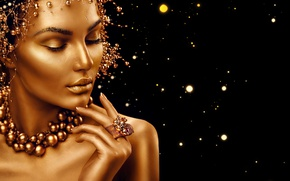 Picture girl, eyelashes, gold, model, hair, hand, ring, beads