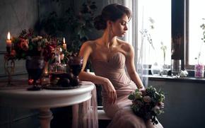 Picture girl, flowers, reverie, face, pose, portrait, bouquet, dress, brunette, hairstyle, light, beautiful, the beauty, shoulders, ...