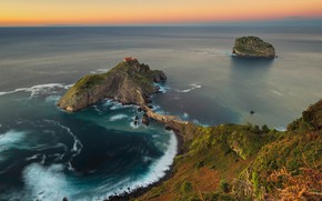 Wallpaper sunset, rocks, the ocean, Bay of Biscay, Basque Country, Bizkaia, Basque Country, Spain, coast, island, ...