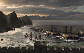Picture wave, mountains, ships, fortress, Siege Concept