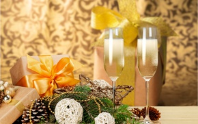 Picture tree, New Year, glasses, Christmas, new year, happy, gift, decoration, champagne