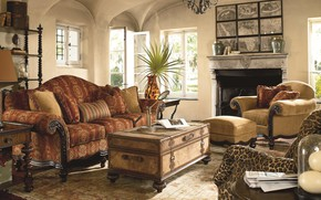Wallpaper warm glow, British Colonial style, interior, room, living room, fireplace