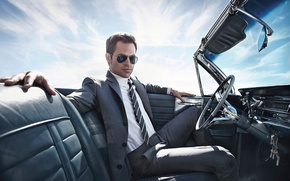 Picture the sky, the sun, style, chair, glasses, costume, tie, actor, shirt, driving, jacket, car, sitting, …