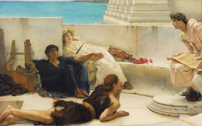 Wallpaper Lawrence Alma-Tadema, Lawrence Alma-Tadema, Reading from Homer, the poet, picture, genre