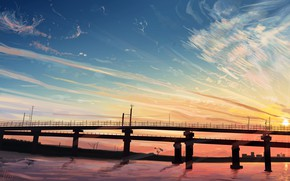 Picture water, sunset, bridge, nature