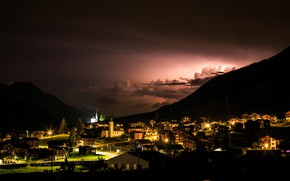 Picture the sky, clouds, trees, mountains, night, lights, home, Switzerland, valley, lights, Gluringen, Weather lights