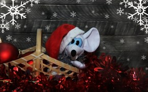 Picture snowflakes, toy, rat, Christmas mood