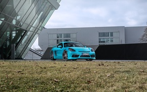 Picture blue, Porsche, Cayman, convertible, car, Porsche, turbo, TechArt, 718