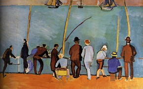Picture ships, fishermen, france, fishing rods, 1908, Huile sur Toile, Raoul Dufy, Collection ParticuliKre, PИcheurs Е …