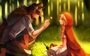 Wallpaper little red riding hood, art, guy, Big Bad Wolf, romance, wolf, flower, Red Riding Hood, ...