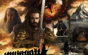 Picture Art, The hobbit, Gandalf, Bilbo Baggins, Thorin Oakenshield, The lonely mountain