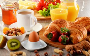 Picture berries, egg, coffee, strawberry, Goodies, croissant, cuts