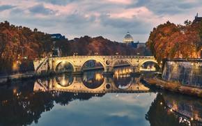 Picture river, Rome, Italy, The Tiber, the Ponte Sisto bridge