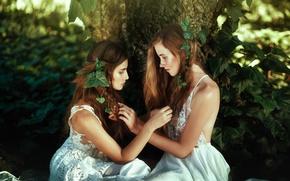 Wallpaper nature, girls, hair, dress, face