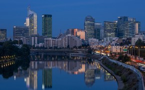Picture the sky, water, lights, reflection, river, France, building, home, the evening, lights, Levallois-Perret